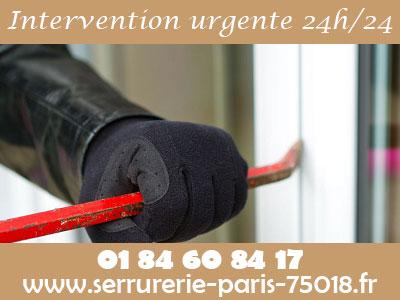 Intervention urgente du Serrurier Paris 18