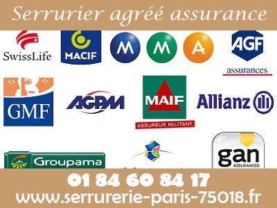Serrurier Paris 75018 agréé assurance